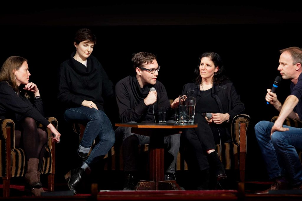 The Netherlands, Amsterdam, 23 November 2014. The 27th International Documentary Film Festival Amsterdam - IDFA 2014. QnA with director Laura Poitras after screening documentary CITIZENFOUR at Tuschinski Theatre. From left; Sarah Harrison (journalist and WikiLeaks editor), producer Mathilde Bonnefoy, Jacob Appelbaum (in documentary), director Laura Poitras, moderator Eelco Bosch van Rosenthal. Photo: Bram Belloni (Bram Belloni)