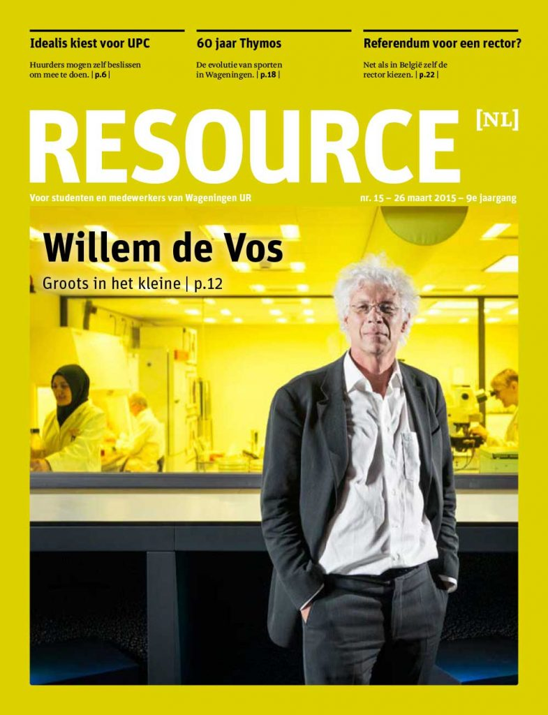 Tear sheet Cover Resource 09-2015, featuring Willem de Vos, editorial photography by Bram Belloni