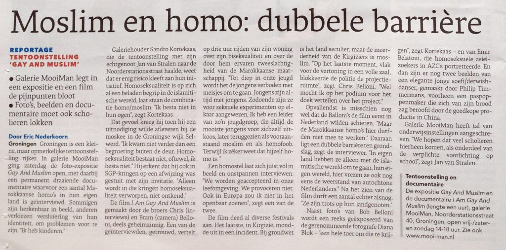 Review exhibition Gay & Muslim, Dagblad van het Noorden - October 8th, 2012 (click for bigger image)