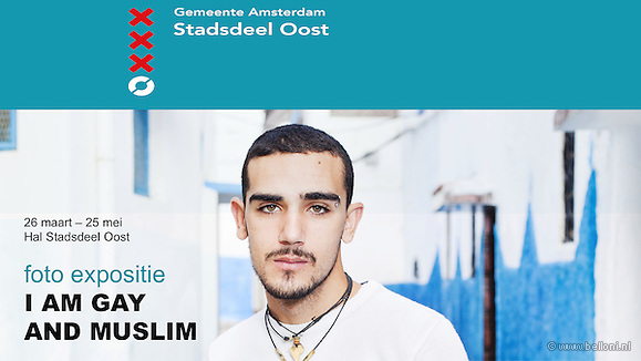Exhibition photo series I AM GAY AND MUSLIM by Bram Belloni, 26 march - 25 may 2013, at Amsterdam municipality Stadsdeelkantoor Oost, the Netherlands. Series is made after film documentary I AM GAY AND MUSLIM (2012) by Chris Belloni. (Bram Belloni)