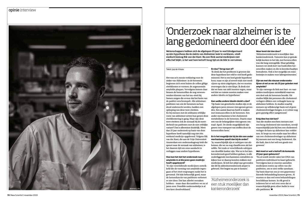Tear sheet publication New Scientist Magazine 71, november 2019. Interview medical biologist Rik van der Kant - interview by Job de Vrieze, editorial photography by Bram Belloni