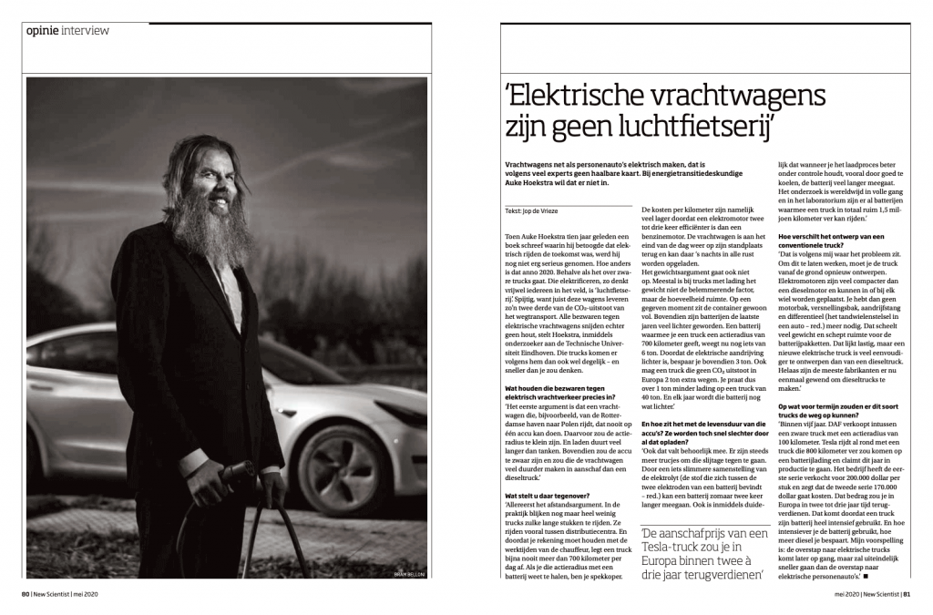 Tearsheet publication New Scientist Magazine 77, May 2020. Interview energy transition expert Auke Hoekstra - interview by Job de Vrieze, editorial photography by Bram Belloni