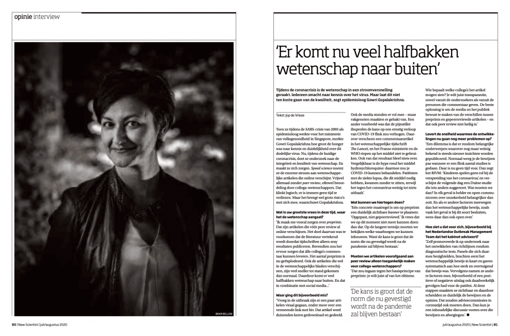 Tearsheet publication New Scientist Magazine 79, July/August 2020. Interview epidemiologist Gowri Gopalakrishna - interview by Job de Vrieze, editorial photography by Bram Belloni