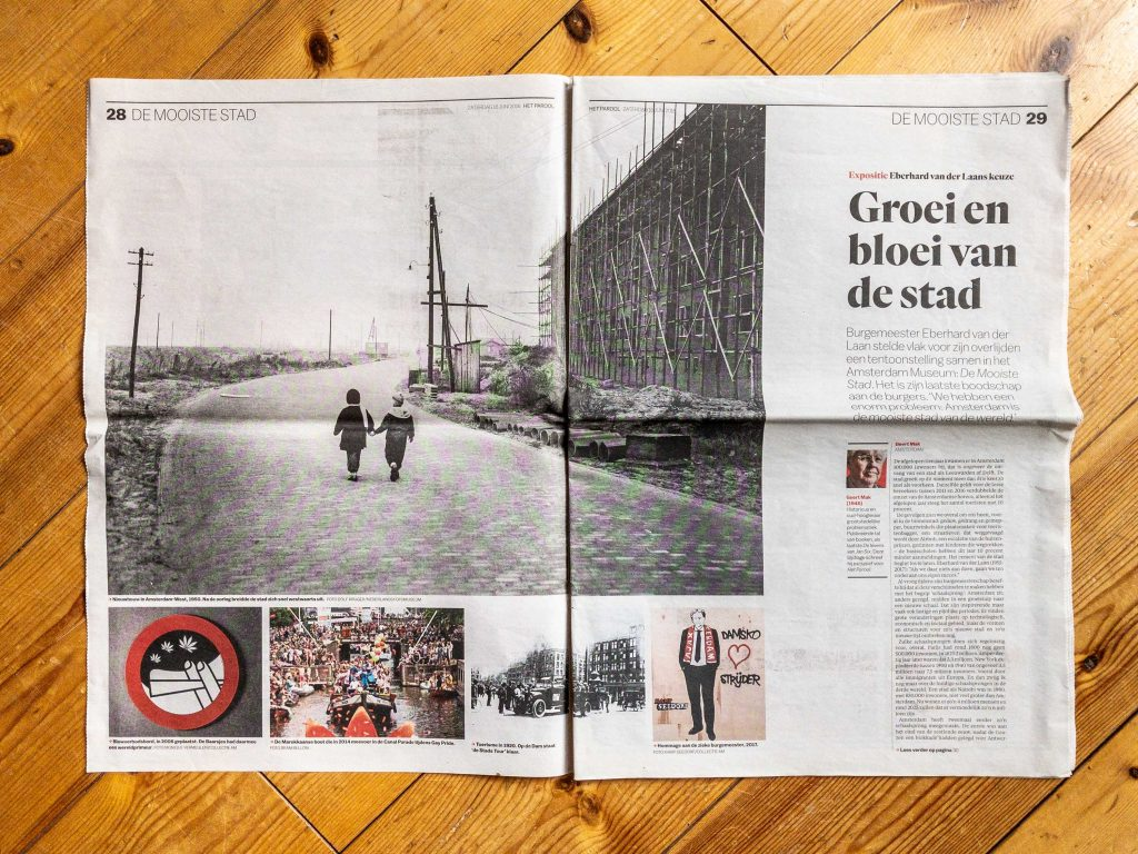 Tearsheet of Dutch news paper Het Parool June 16th, 2018, review exhibition De Mooiste Stad at Amsterdam Museum, featuring image De Marokkaanse Boot by photographer Bram Belloni.