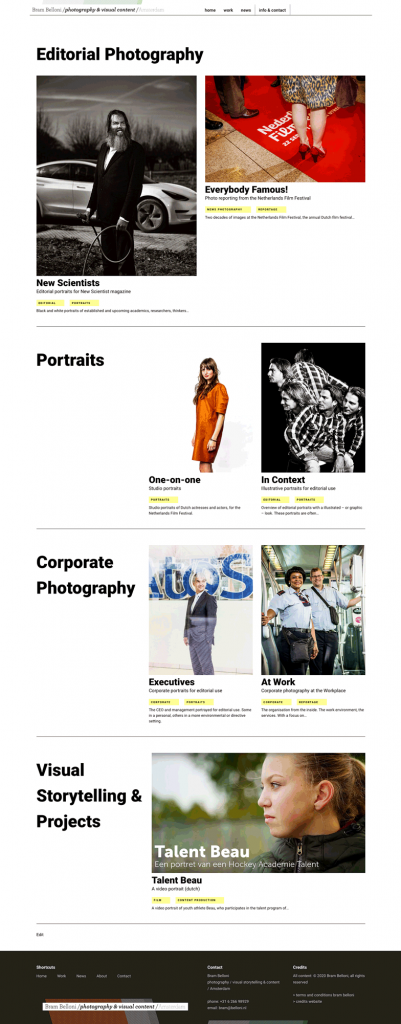 screen image of the new website Bram Belloni photography and visual content, featuring the portfolio page