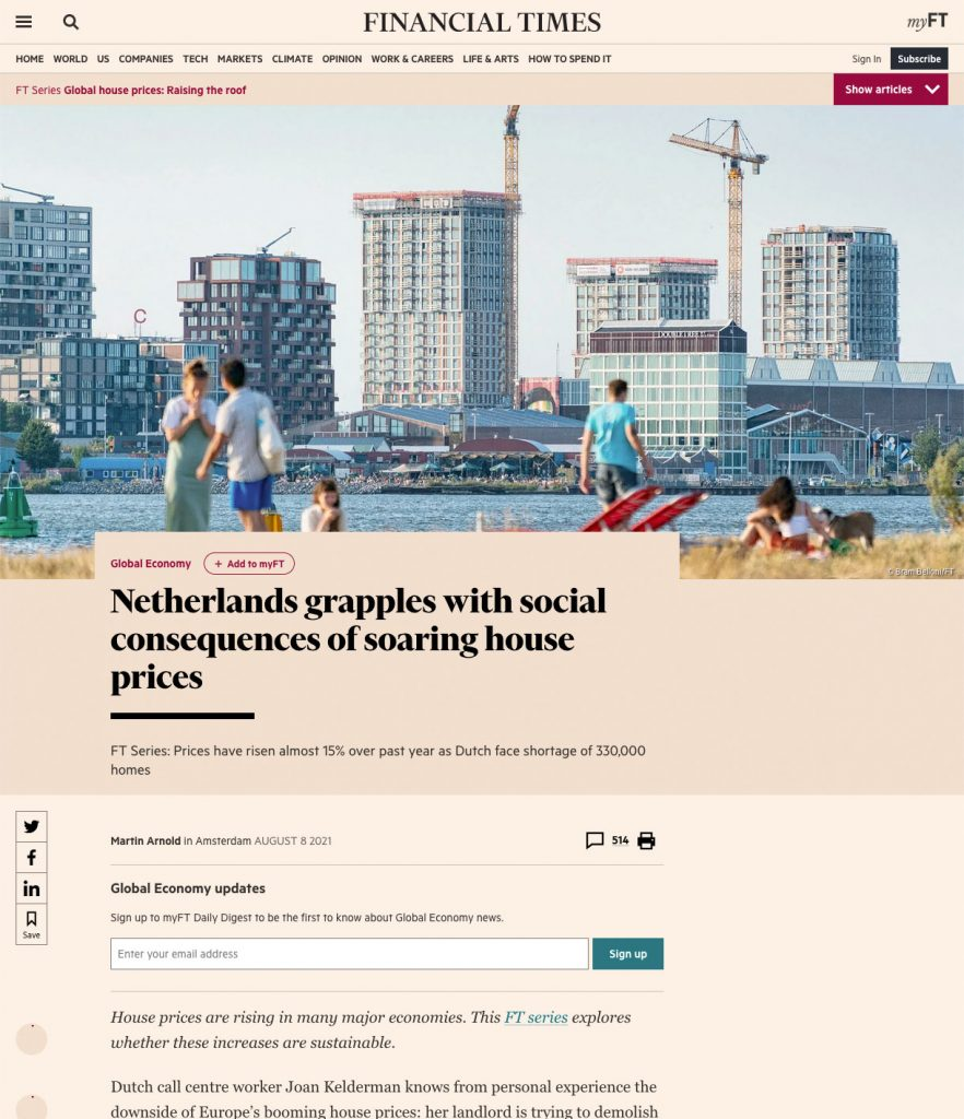 Sample of Financial Times website with editorial photography by Bram Belloni, Amsterdam